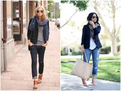 Blazer + jeans + open-toed booties + scarf = perfect outfit for fall