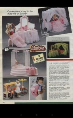 Barbie's glow in the dark. Sears Wish book. Had the bedroom.