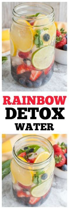 Stay hydrated with the rainbow detox water. Filled with lemon, lime, orange, blueberries, raspberries, strawberries and basil. A refreshing sugar free drink.