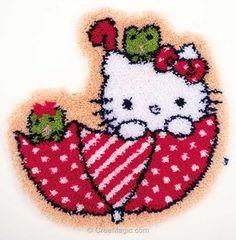Kit tapis point noue kitty dans son parapluie de Vervaco