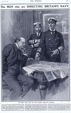 The Men who are Directing Britain's Navy (Print) art by The Sphere (Matania) at The Illustration Art Gallery