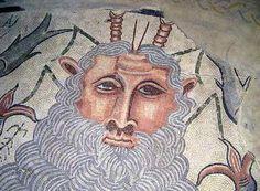 Roman Mosaic. Ocean God. Villa de Materno. Carranque, Spain.