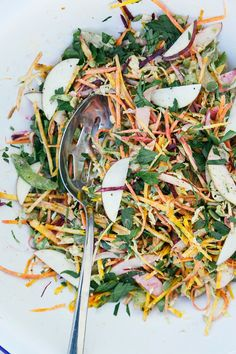 Shredded Brussels Sprouts Fall Vegetable Salad W Garlicky Orange Tahini Dressing by The First Mess