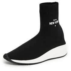 Joshua Sanders Fly to New York Sock Sneakers ($415) ❤ liked on Polyvore featuring shoes, sneakers, black, flat footwear, rubber sole shoes, round toe sneakers, rubber sole sneakers and black shoes