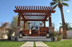 Stunning Pergola Plans Providing Comfort for Outdoor Space: Stunning Outdoor Seating Area Arbor Structure Mediterranean Landscape Design Wit. Small Gazebo, Diy Gazebo, Hot Tub Gazebo, Outdoor Pergola, Outdoor Bars, Pergola Lighting, Patio Wall, Pergola Designs, Pergola Ideas