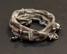 Willow velvet warrior  Wrap with pearls and sterling silver