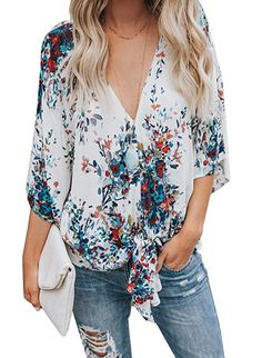 2df36472948 Gemijack Womens Floral Blouses Chiffon Summer Short Sleeve Deep V Neck Tie  Front Tops Shirts Chiffon