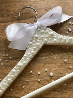 Pearl Wedding Dress Hanger for Bride or Bridal Party / Wedding Day Accessory / Pearls / Pearlescent / White / Ivory / Bling / Customizable - Pearl wedding dress - Diy Wedding Hangers, Bride Hanger, Wedding Dress Hanger, Diy Wedding Dress, Wedding Day, Party Wedding, Wedding White, Wedding Anniversary, Pretty Wedding Dresses