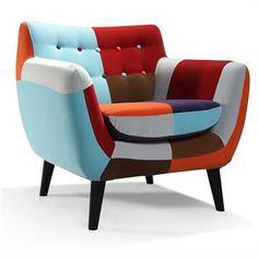 Maze Patchwork Fabric Armchair - Rainbow