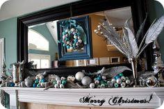 Blue and Silver Christmas Mantel!!--Tatertots and Jello #Christmas #mantels #DIY #decor