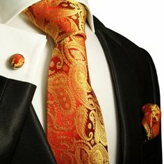 Paul Malone Pumpkin Silk Necktie Set