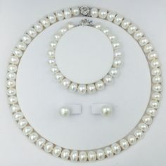 55183c93d Classical freshwater pearls bead jewelry Set with 18inch necklace earring  bracelet 9 11mm pearls chokers sterling silver lock-in Jewelry Sets from  Jewelry ...