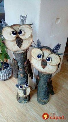 Herbst Deko - All For Garden Wood Log Crafts, Wood Slice Crafts, Christmas Wood Crafts, Owl Crafts, Diy And Crafts, Wooden Owl, Driftwood Art, Nature Crafts, Yard Art