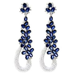 "Sapphire and Diamond ""Goldiva"" Earrings ❤ liked on Polyvore featuring jewelry, earrings, accessories, brinco, orecchini, 18 karat gold earrings, sapphire jewelry, white jewelry, earring jewelry and sapphire earrings"