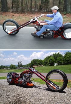 Motorcycle with spoke-less wheels :O