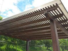 Pergola With Retractable Canopy Kit Info: 1874198972 Black Pergola, Steel Pergola, Wood Pergola, Deck With Pergola, Covered Pergola, Pergola Patio, Pergola Plans, Pergola Kits, Pergola Ideas