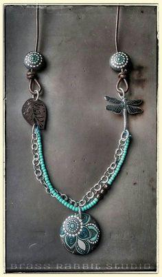 Bohemian long necklace mixed media ceramic by BrassRabbitStudio