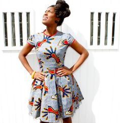 African blue and red print dress