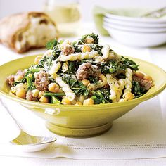 This 30-minute pasta recipe is a terrific combination of Mediterranean ingredients. Broccoli rabe, with its slightly bitter taste, pairs deliciously with sweet Italian sausage.