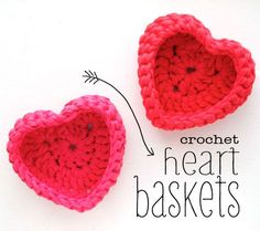 Crochet heart shaped storage baskets made with zpagetti tshirt yarn - These little crochet baskets work up quickly with Zpagetti yarn and make a great gift for yourself or a special friend. Fill them with sweet treats for Valentine's Day and then keep the basket as an attractive and practical storage solution.