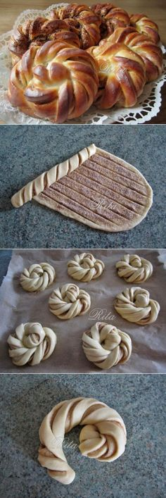 No recipe, but the design could probably be applied to many pastries Beaux Desserts, No Bake Desserts, Delicious Desserts, Dessert Recipes, Pain Brioché, Doughnuts, Brioche Bread, Challah, Bread Bun