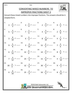 Printables Improper Fractions To Mixed Numbers Worksheets math worksheets and fractions on pinterest printable fraction convert mixed numbers to improper