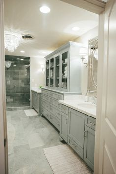 "Keep up to date on the latest news & stories from the host of HGTV's hit remodeling show ""Fixer Upper"" & owner of the Magnolia Market, Joanna Gaines! House Bathroom, Master Bath Remodel, French Bathroom, Linen Cabinet, Bathrooms Remodel, Bath Remodel, House, Home, Bathroom Design"