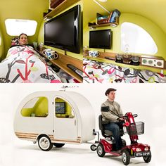 For around $9,072, seniors (or anyone who wants a trailer that can be pulled by a mobility scooter) can climb into this mini camper and sleep in a full-sized bed for the night wherever they happen to park. Stocked with a 19-inch TV, AM/FM radio, and bookshelves, along with a kettle for tea, this is your serious royal wedding overnight sleeping solution. Extra additions include solar panels for heating, a satellite dish, a gaming console, central heating, and an external luggage rack.
