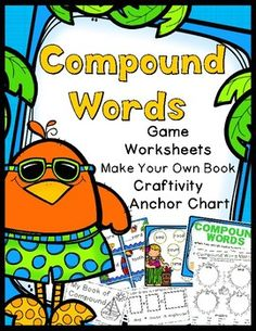 Super Fun Compound Word Activities! 30 Compound Word Task Cards!Game Activity SheetsCompound Words Book - CraftCompound Words Book - ActivityAnchor ChartCompound Word Matching Game:30 compound words task cards, 5 game boards (1 per player), title/instruction cards,  and an answer keyCompound Word Activity Sheets1.