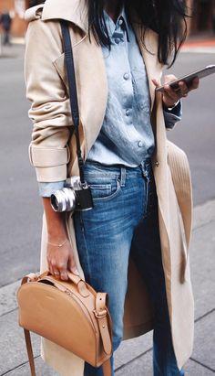 Classic denim & trench coat