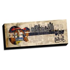 Detroit Music Road Canvas Printed on Ready to Hang Framed Stretched Canvas