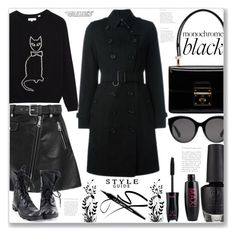 """""""Monochrome: All Black Everything"""" by firstclass1 ❤ liked on Polyvore featuring Maje, Gucci, Dolce&Gabbana, Burberry, monochrome, black, allblack and blackoutfit"""