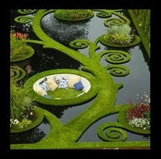 This is pretty cool looking: Dream Garden. Gold medal garden at the Ellerslie Flower Show by Ben Hoyle, Blue Gecko ~ french grassed parterre floating over still black waters - New Zealand Dream Garden, Garden Art, Garden Nook, Corner Garden, Garden Whimsy, Garden Cottage, Garden Spaces, Cottage Chic, Design Jardin
