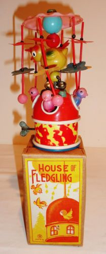 JAPAN-Celluloid-Wind-up-1940s-HOUSE-OF-FLEDGLING-BIRD-TOY-w-BOX-6-75-inch