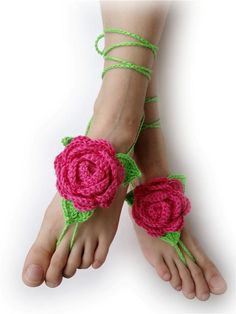 Crochet Barefoot Sandals - Foot Jewelry - 3D Roses with leaf #VividBear