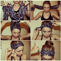 17 Ways To Never Have A Bad Hair Day Again DIY boho head wrap. i think these are so cute, and will be great when I wear my hair up for the whole summer. Bad Hair Day, Hair Dos, Your Hair, Curly Hair Styles, Natural Hair Styles, Looks Style, Pretty Hairstyles, Easy Hairstyles, Girl Hairstyles
