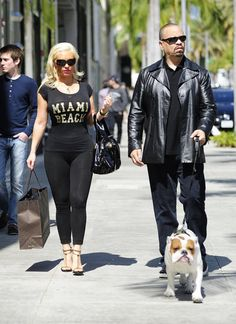What's Up Dog? Ice-T and Coco took their Bulldog, Spartacus, for a walk in Miami. Ice T And Coco, Coco Baby, Baby Chanel, National Pet Day, Up Dog, Celebrity Couples, Celebrity Style, Famous Couples, Black Couples