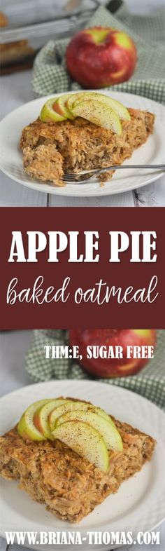 This Apple Pie Baked Oatmeal (with how-to recipe video!) makes the perfect make-ahead fall breakfast! - Trim Healthy Mama friendly - low glycemic - THM:E - low fat - no sugar added - gluten free - dairy free - nut free