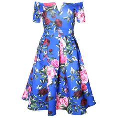 Plus Size Off Shoulder Midi Vintage Prom Dress, Garden Print ($39) ❤ liked on Polyvore featuring dresses, vintage dresses, blue prom dresses, midi dress, floral prom dresses and prom dresses