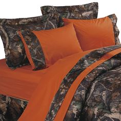 HiEnd Accents Orange & Oak Camo Sheet Set
