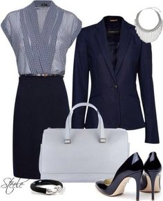 Another power look with a statement necklace inspired by falling water. Waterfalls are one of nature's wonders. Off white bag, chic but conservative pumps, pencil skirt, blue blouse, and flattering jacket. You can't go wrong with this look. Sales, management, meetings, office, insurance, agent, executive, bossbabe