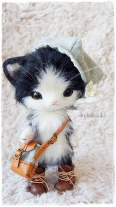 Needle felted kitty by Atelier Kiki from Japan