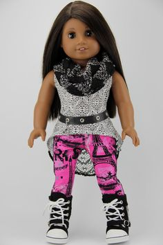 """American Girl doll clothes - 3 piece high low tank top outfit with FREE infinity scarf (fits 18"""" doll) (431pnk) by DolliciousClothes on Etsy https://www.etsy.com/listing/225191049/american-girl-doll-clothes-3-piece-high"""