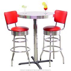 Pub Table Double Ring Bar Stool Set
