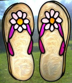 b11ed397914da flip flops thongs beach stained glass type suncatcher window sticker  leadlight  sunshiners