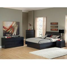 Laguna 4-Piece Queen Bed, Night Stand, Dresser and Chest Set, Black Woodgrain