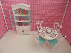 OOAK Barbie Table,Chairs, China Cabinet/Hutch/Buffet I LOVE the background