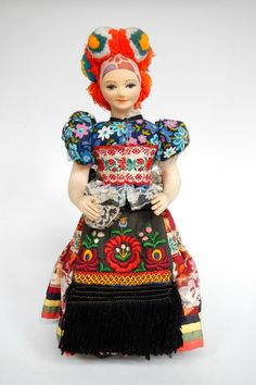 Hungary | National costume doll from Mezokovesd, representing the Matyo people Folk Embroidery, Miss World, People Sitting, Pin Cushions, Hungary, Folk Art, Disney Characters, Fictional Characters, The Past