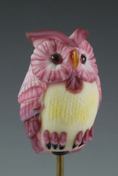 Pink Owl  Sculptural Glass Focal Bead by NorthFireDesigns on Etsy