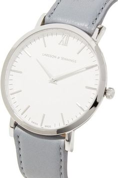 19a06e48693 Larsson   Jennings - Lugano Leather And Stainless Steel Watch - Light gray